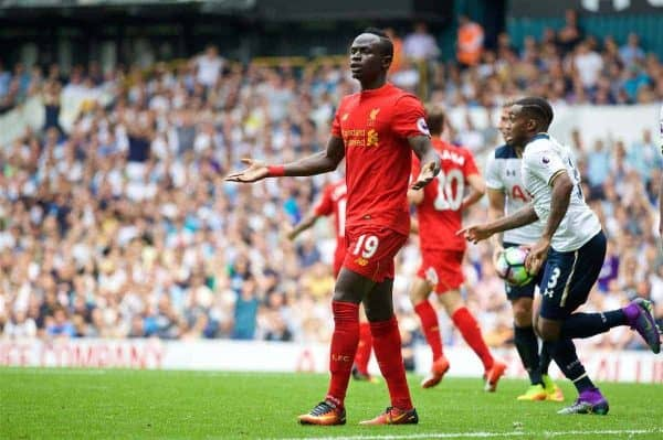 LONDON, ENGLAND - Saturday, August 27, 2016: Liverpool's Sadio Mane looks dejected as his goal is disallowed against Tottenham Hotspur during the FA Premier League match at White Hart Lane. (Pic by David Rawcliffe/Propaganda)