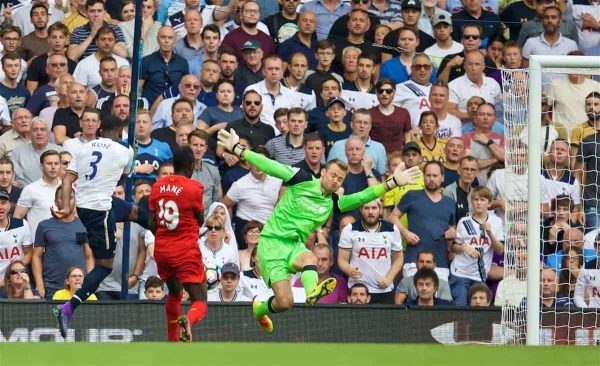 LONDON, ENGLAND - Saturday, August 27, 2016: Liverpool's goalkeeper Simon Mignolet is beaten as Tottenham Hotspur's Danny Rose scores the first equalising goal during the FA Premier League match at White Hart Lane. (Pic by David Rawcliffe/Propaganda)