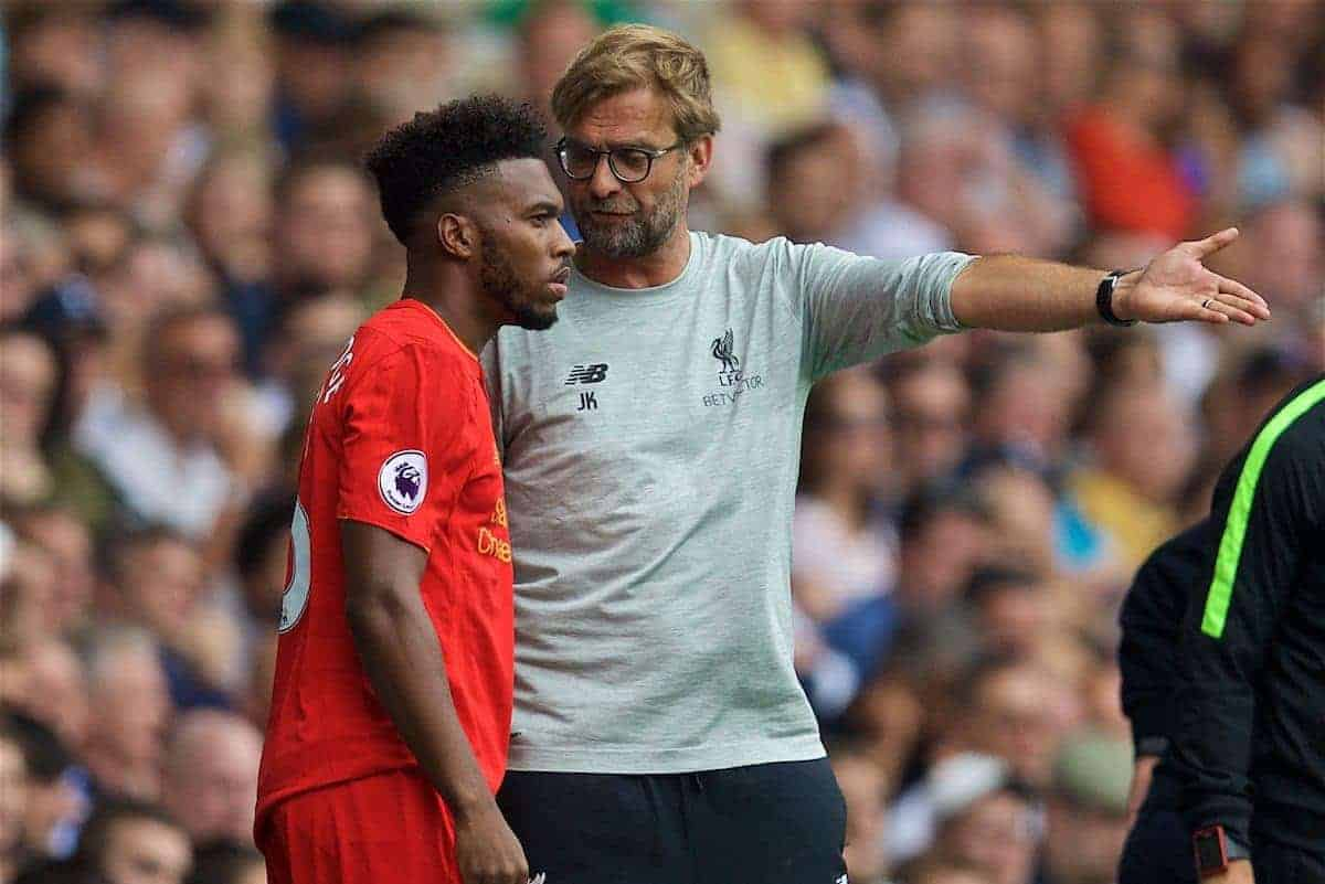 LONDON, ENGLAND - Saturday, August 27, 2016: Liverpool's manager Jürgen Klopp prepares to bring on substitute Daniel Sturridge against Tottenham Hotspur during the FA Premier League match at White Hart Lane. (Pic by David Rawcliffe/Propaganda)