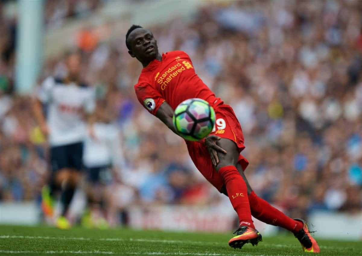 LONDON, ENGLAND - Saturday, August 27, 2016: Liverpool's Sadio Mane in action against Tottenham Hotspur during the FA Premier League match at White Hart Lane. (Pic by David Rawcliffe/Propaganda)