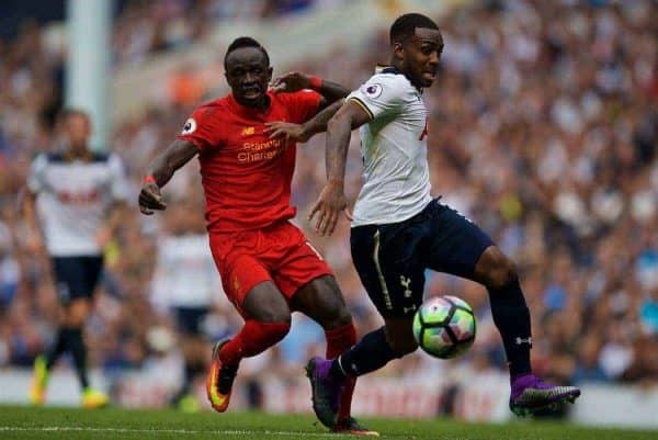 LONDON, ENGLAND - Saturday, August 27, 2016: Liverpool's Sadio Mane in action against Tottenham Hotspur's Danny Rose during the FA Premier League match at White Hart Lane. (Pic by David Rawcliffe/Propaganda)