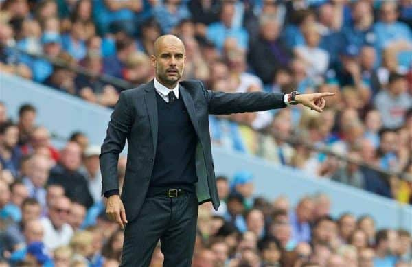 Manchester City's manager Pep Guardiola during the FA Premier League match against West Ham United at the City of Manchester Stadium Lane. (Pic by David Rawcliffe/Propaganda)