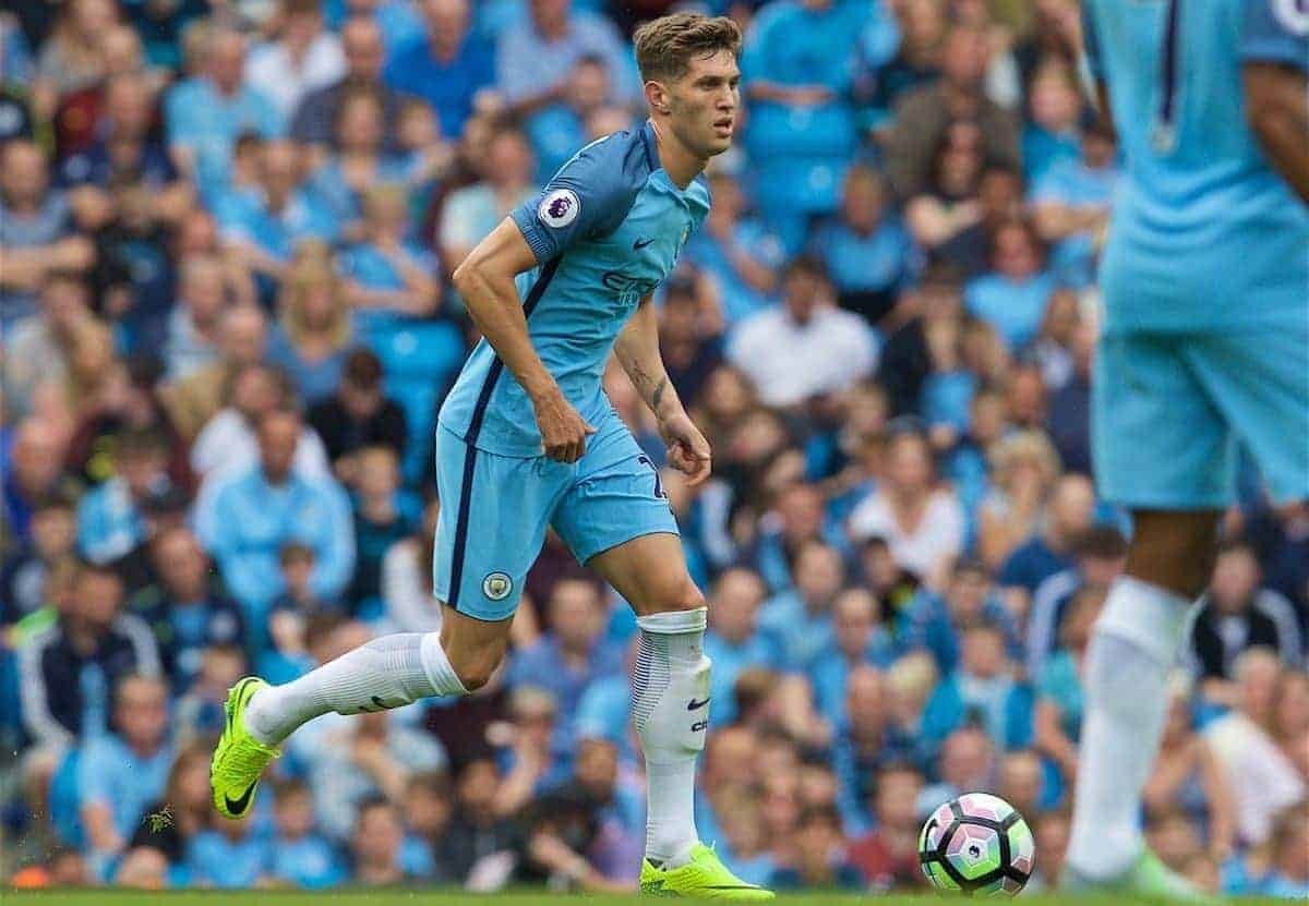 LONDON, ENGLAND - Sunday, August 28, 2016: Manchester City's John Stones in action against West Ham United during the FA Premier League match at the City of Manchester Stadium Lane. (Pic by David Rawcliffe/Propaganda)