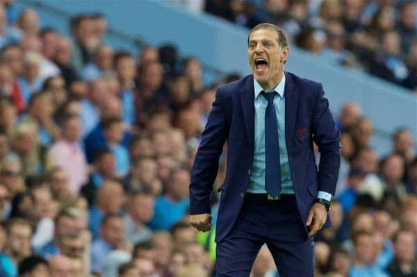 LONDON, ENGLAND - Sunday, August 28, 2016: West Ham United's manager Slaven Bilic during the FA Premier League match against Manchester City at the City of Manchester Stadium Lane. (Pic by David Rawcliffe/Propaganda)