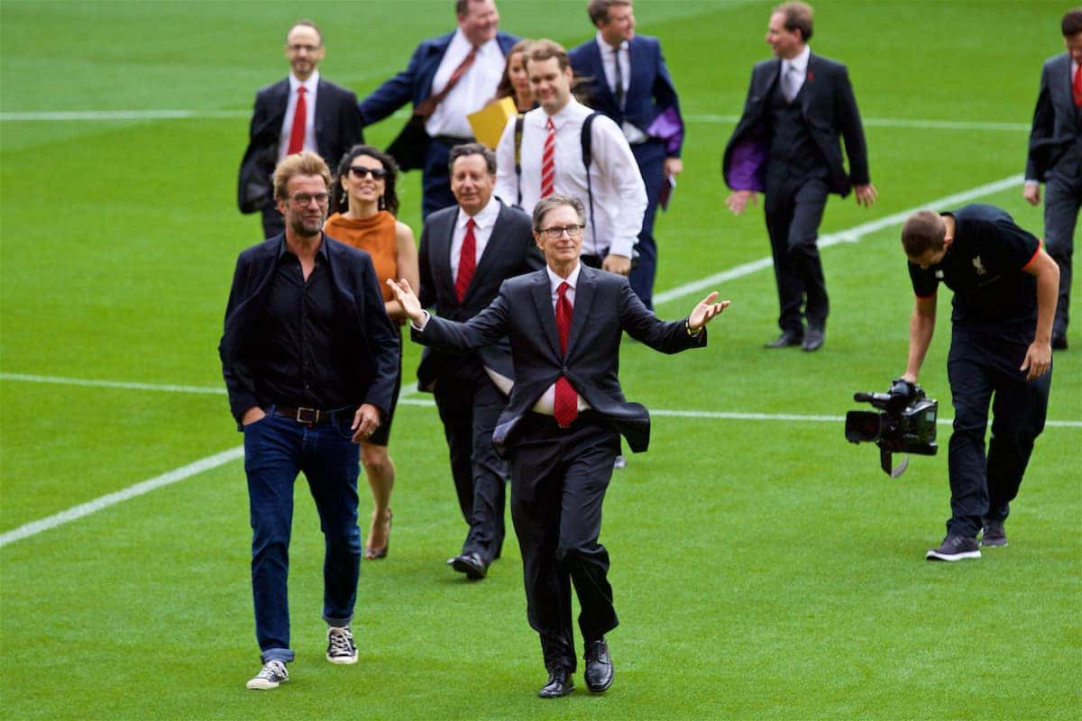 LIVERPOOL, ENGLAND - Friday, September 9, 2016: Liverpool's manager Jürgen Klopp and owner John W. Henry during the Liverpool FC Main Stand opening event at Anfield. (Pic by David Rawcliffe/Propaganda)