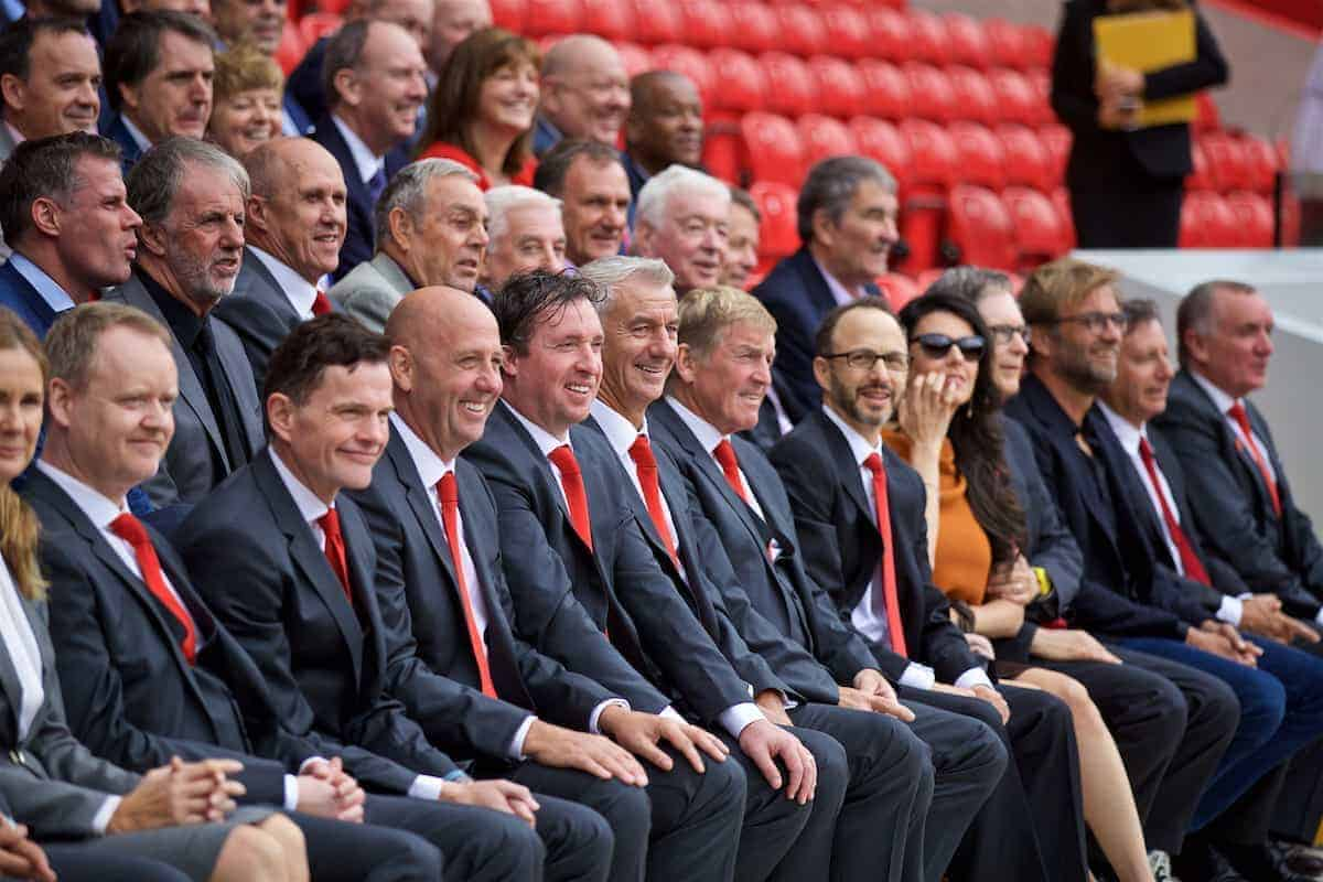 LIVERPOOL, ENGLAND - Friday, September 9, 2016: Former Liverpool players Gary McAllister, Robbie Fowler, Ian Rush and Kenny Dalglish during the Liverpool FC Main Stand opening event at Anfield. (Pic by David Rawcliffe/Propaganda)