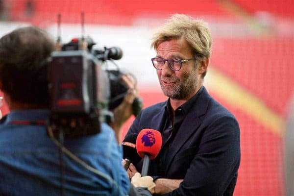 LIVERPOOL, ENGLAND - Friday, September 9, 2016: Liverpool's manager Jürgen Klopp during the Liverpool FC Main Stand opening event at Anfield. (Pic by David Rawcliffe/Propaganda)