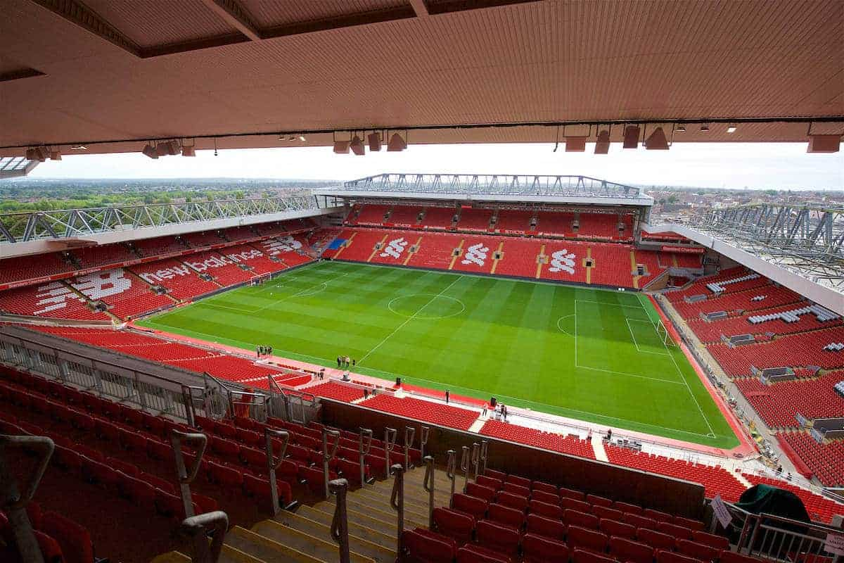 LIVERPOOL, ENGLAND - Friday, September 9, 2016: A general view of Anfield as seen from the upper tier of the new Main Stand during the Liverpool FC Main Stand opening event at Anfield. (Pic by David Rawcliffe/Propaganda)