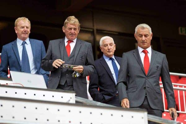 LIVERPOOL, ENGLAND - Friday, September 9, 2016: Former Liverpool managers Kenny Dalglish, Roy Evans and formers player Ian Rush [R] and David Dairclough [L] during the Liverpool FC Main Stand opening event at Anfield. (Pic by David Rawcliffe/Propaganda)
