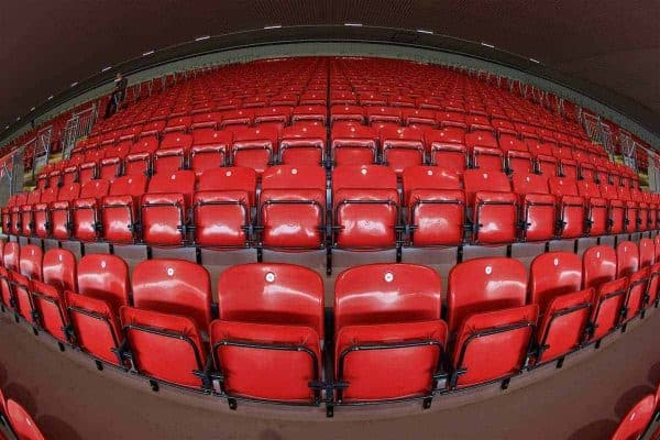 LIVERPOOL, ENGLAND - Friday, September 9, 2016: Seats in the upper tier of the new Main Stand during the Liverpool FC Main Stand opening event at Anfield. (Pic by David Rawcliffe/Propaganda)