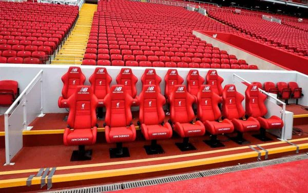 LIVERPOOL, ENGLAND - Friday, September 9, 2016: A view of the new Main Stand dugouts during the Liverpool FC Main Stand opening event at Anfield. (Pic by David Rawcliffe/Propaganda)