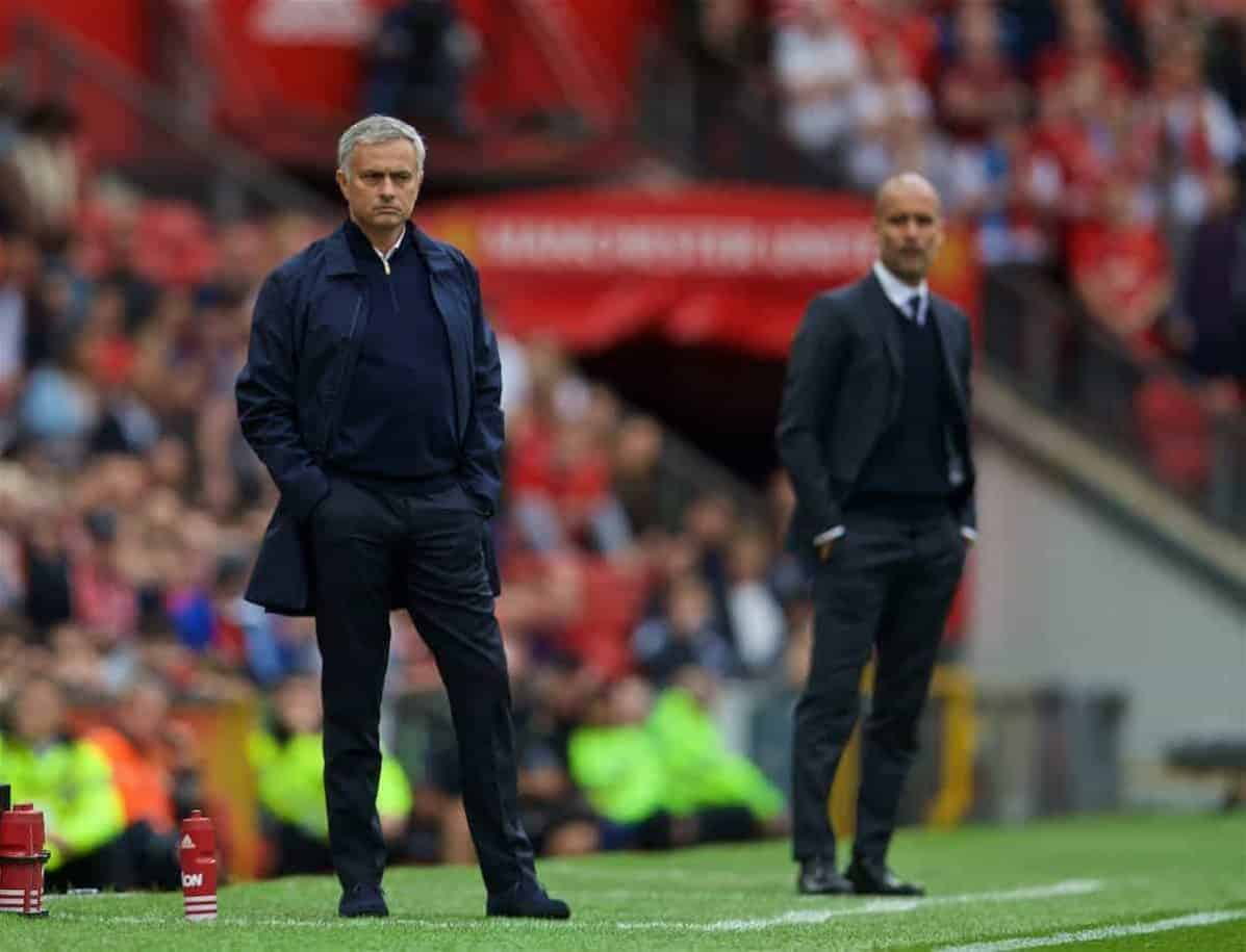 MANCHESTER, ENGLAND - Saturday, September 10, 2016: Manchester United's manager Jose Mourinho and Manchester City's manager Pep Guardiola during the FA Premier League match at Old Trafford. (Pic by David Rawcliffe/Propaganda)
