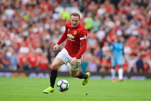 MANCHESTER, ENGLAND - Saturday, September 10, 2016: Manchester United's captain Wayne Rooney in action against Manchester City during the FA Premier League match at Old Trafford. (Pic by David Rawcliffe/Propaganda)