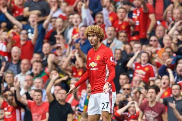MANCHESTER, ENGLAND - Saturday, September 10, 2016: Manchester United's Marouane Fellaini looks surprised as he is shown a yellow card during the FA Premier League match against Manchester City at Old Trafford. (Pic by David Rawcliffe/Propaganda)