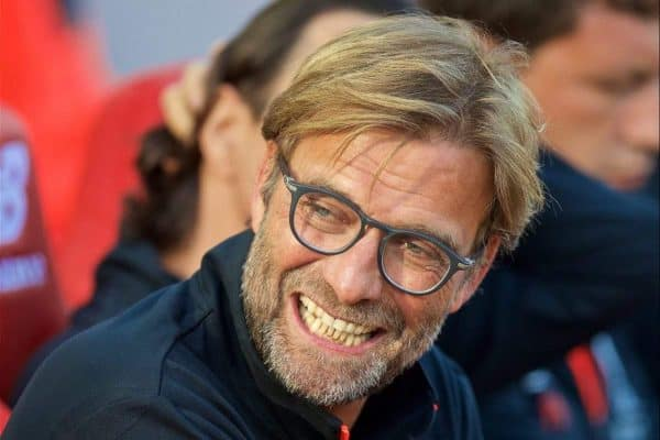 Liverpool's manager J¸rgen Klopp before the FA Premier League match against Leicester City at Anfield. (Pic by David Rawcliffe/Propaganda)