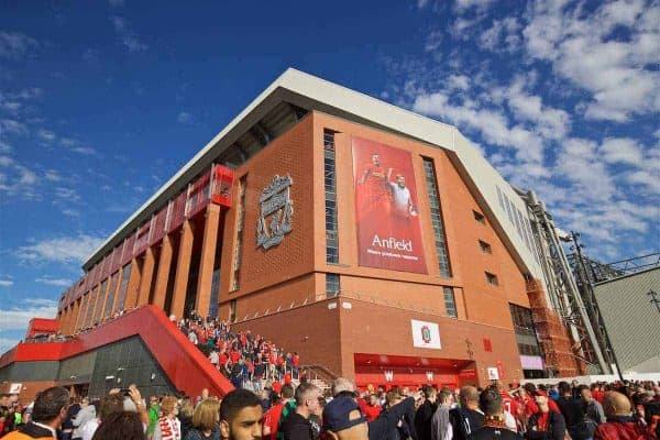 LIVERPOOL, ENGLAND - Saturday, September 10, 2016: The Liverpool club crest on the exterior of the new Main Stand before the FA Premier League match against Leicester City at Anfield. (Pic by David Rawcliffe/Propaganda)
