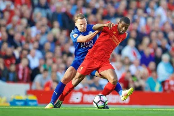 LIVERPOOL, ENGLAND - Saturday, September 10, 2016: Liverpool's Georginio Wijnaldum in action against Leicester City during the FA Premier League match at Anfield. (Pic by David Rawcliffe/Propaganda)