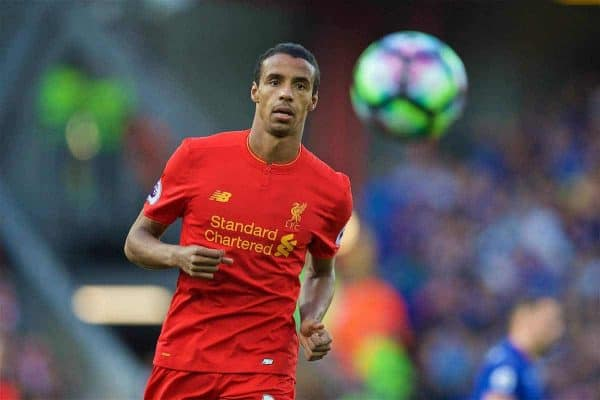 LIVERPOOL, ENGLAND - Saturday, September 10, 2016: Liverpool's Joel Matip in action against Leicester City during the FA Premier League match at Anfield. (Pic by David Rawcliffe/Propaganda)