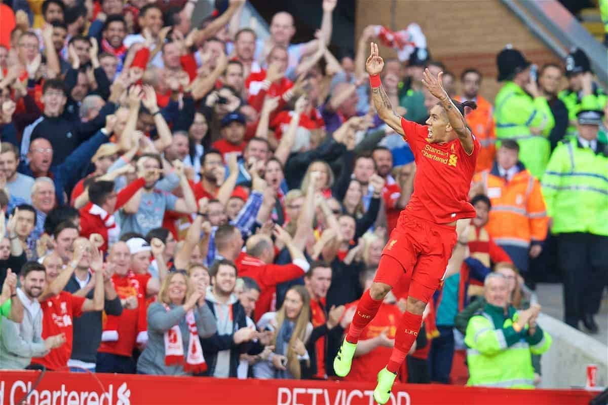 LIVERPOOL, ENGLAND - Saturday, September 10, 2016: Liverpool's Roberto Firmino celebrates scoring the first goal against Leicester City during the FA Premier League match at Anfield. (Pic by David Rawcliffe/Propaganda)