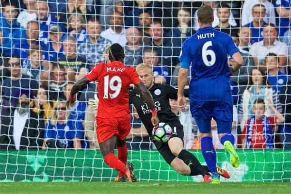 LIVERPOOL, ENGLAND - Saturday, September 10, 2016: Liverpool's Sadio Mane scores the second goal against Leicester City during the FA Premier League match at Anfield. (Pic by David Rawcliffe/Propaganda)