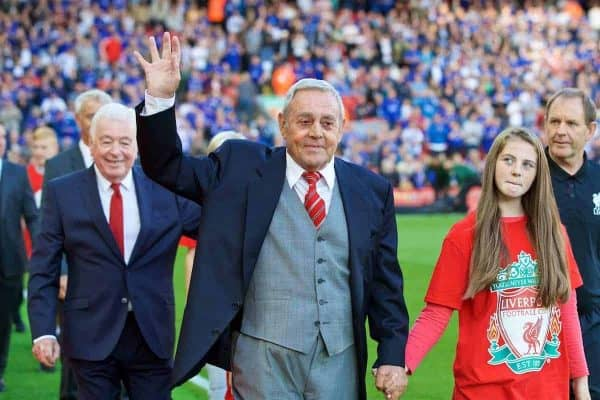 LIVERPOOL, ENGLAND - Saturday, September 10, 2016: Former Liverpool player Ian St. John before the FA Premier League match against Leicester City at Anfield. (Pic by David Rawcliffe/Propaganda)