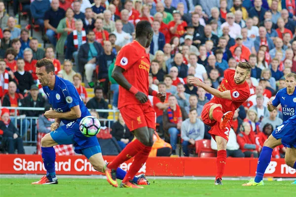 LIVERPOOL, ENGLAND - Saturday, September 10, 2016: Liverpool's Adam Lallana scores the third goal against Leicester City during the FA Premier League match at Anfield. (Pic by David Rawcliffe/Propaganda)