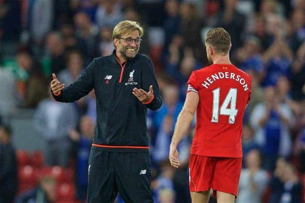 LIVERPOOL, ENGLAND - Saturday, September 10, 2016: Liverpool's manager Jürgen Klopp jokes with captain Jordan Henderson after the 4-1 victory over Leicester City during the FA Premier League match at Anfield. (Pic by David Rawcliffe/Propaganda)