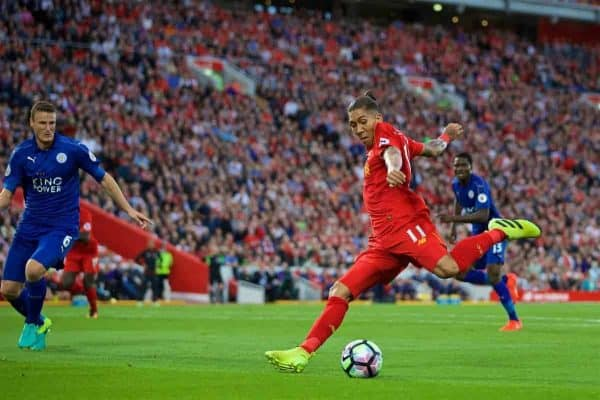 LIVERPOOL, ENGLAND - Saturday, September 10, 2016: Liverpool's Roberto Firmino in action against Leicester City during the FA Premier League match at Anfield. (Pic by David Rawcliffe/Propaganda)