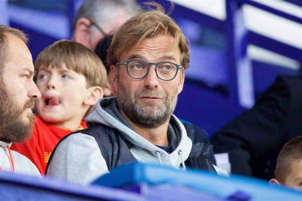 Liverpool's manager Jürgen Klopp watches his U23 side take on Leicester City during the FA Premier League 2 Under-23 match at Prenton Park. (Pic by David Rawcliffe/Propaganda)