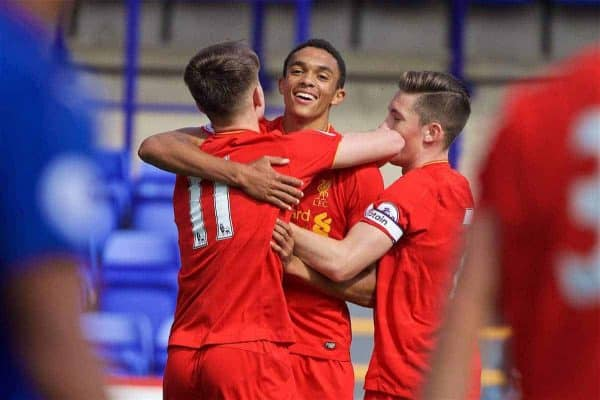 BIRKENHEAD, ENGLAND - Sunday, September 11, 2016: Liverpool's Ben Woodburn [#11] celebrates scoring the second goal against Leicester City with team-mates Trent Alexander-Arnold and captain Harry Wilson during the FA Premier League 2 Under-23 match at Prenton Park. (Pic by David Rawcliffe/Propaganda)