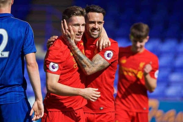 Liverpool's captain Harry Wilson celebrates scoring the third goal against Leicester City with team-mate Danny Ings during the FA Premier League 2 Under-23 match at Prenton Park. (Pic by David Rawcliffe/Propaganda)