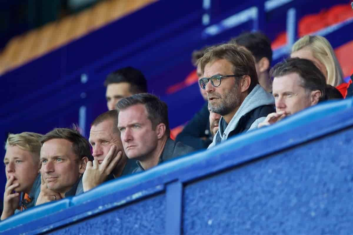 BIRKENHEAD, ENGLAND - Sunday, September 11, 2016: Liverpool's manager Jürgen Klopp along side first-team development coach Pepijn Lijnders, goalkeeping coach John Achterberg, Alex Inglethorpe and Steve McManaman watch the Under-23 side take on Leicester City during the FA Premier League 2 Under-23 match at Prenton Park. (Pic by David Rawcliffe/Propaganda)