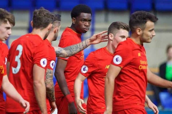 BIRKENHEAD, ENGLAND - Sunday, September 11, 2016: Liverpool's Ovie Ejaria celebrates scoring the fourth goal against Leicester City during the FA Premier League 2 Under-23 match at Prenton Park. (Pic by David Rawcliffe/Propaganda)