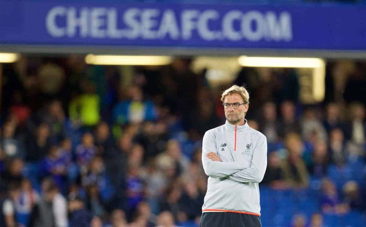 LONDON, ENGLAND - Friday, September 16, 2016: Liverpool's manager Jürgen Klopp before the FA Premier League match against Chelsea at Stamford Bridge. (Pic by David Rawcliffe/Propaganda)