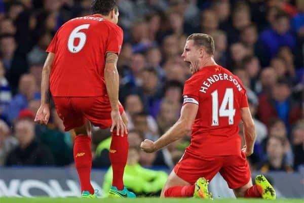 LONDON, ENGLAND - Friday, September 16, 2016: Liverpool's captain Jordan Henderson celebrates scoring the second goal against Chelsea during the FA Premier League match at Stamford Bridge. (Pic by David Rawcliffe/Propaganda)