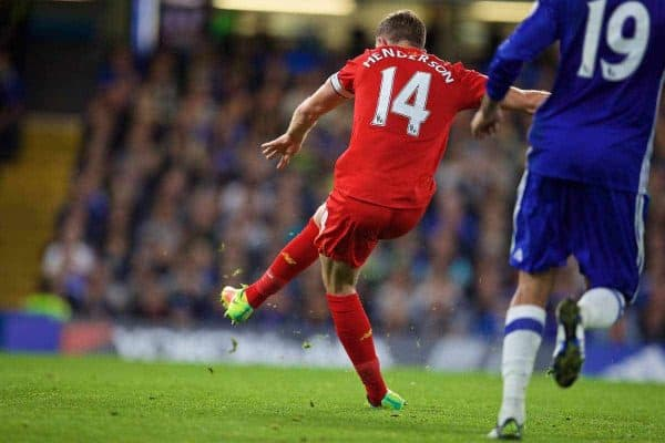 LONDON, ENGLAND - Friday, September 16, 2016: Liverpool's captain Jordan Henderson scores the second goal against Chelsea during the FA Premier League match at Stamford Bridge. (Pic by David Rawcliffe/Propaganda)
