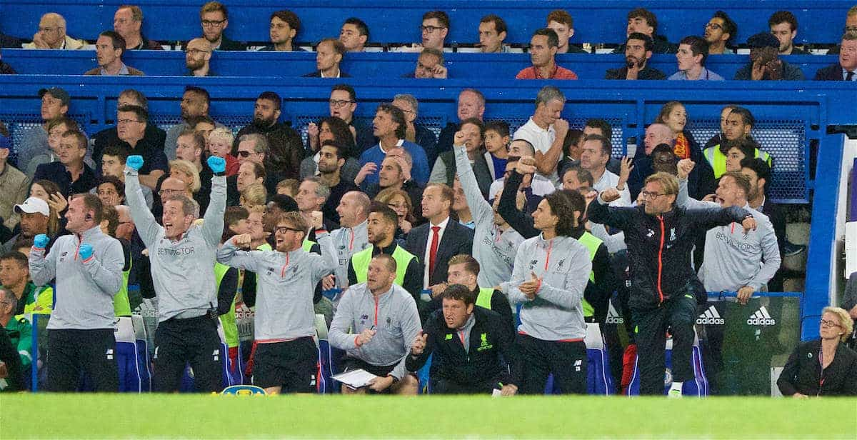 LONDON, ENGLAND - Friday, September 16, 2016: Liverpool's manager Jürgen Klopp celebrates the opening goal against Chelsea during the FA Premier League match at Stamford Bridge. (Pic by Xiaoxuan Lin/Propaganda)