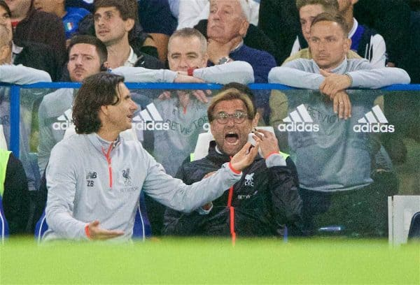 LONDON, ENGLAND - Friday, September 16, 2016: Liverpool's manager Jürgen Klopp during the FA Premier League match against Chelsea at Stamford Bridge. (Pic by Xiaoxuan Lin/Propaganda)