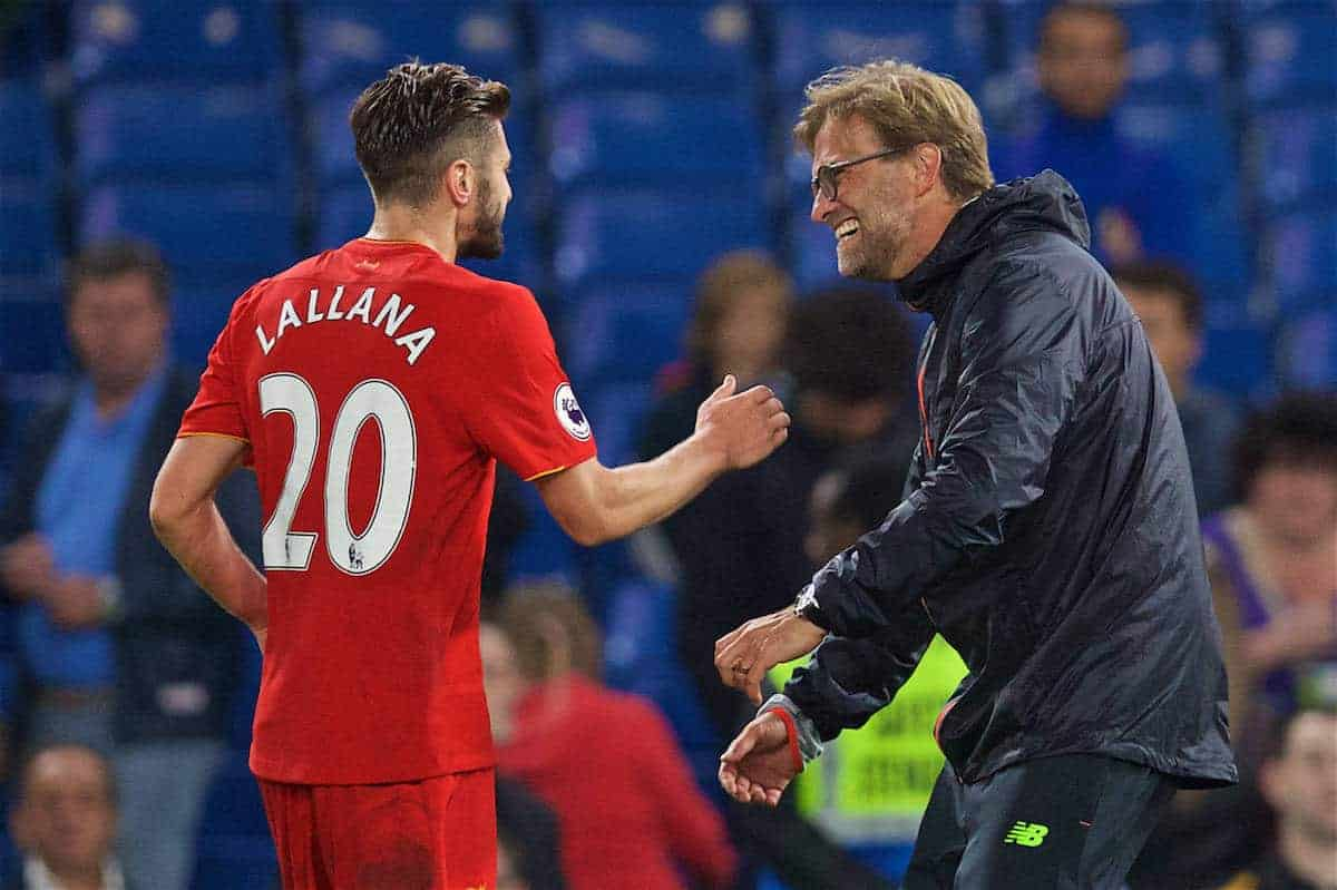 LONDON, ENGLAND - Friday, September 16, 2016: Liverpool's manager Jürgen Klopp celebrates with Adam Lallana after the 2-1 victory over Chelsea during the FA Premier League match at Stamford Bridge. (Pic by David Rawcliffe/Propaganda)