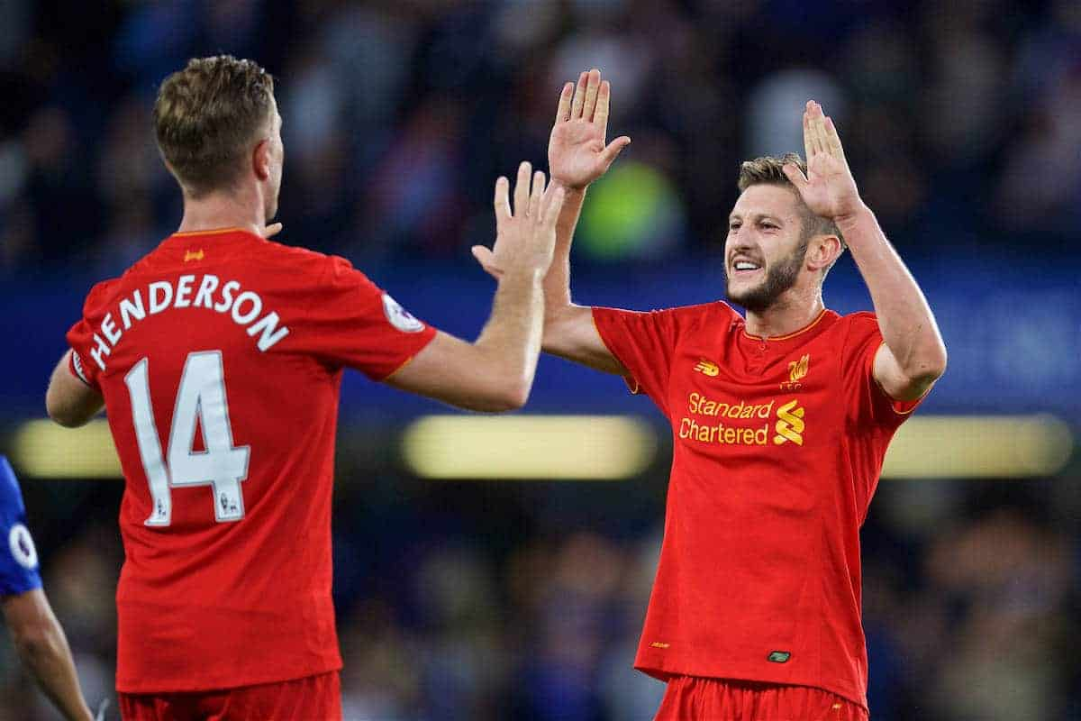 LONDON, ENGLAND - Friday, September 16, 2016: Liverpool's Adam Lallana celebrates after the 2-1 victory over Chelsea during the FA Premier League match at Stamford Bridge. (Pic by David Rawcliffe/Propaganda)