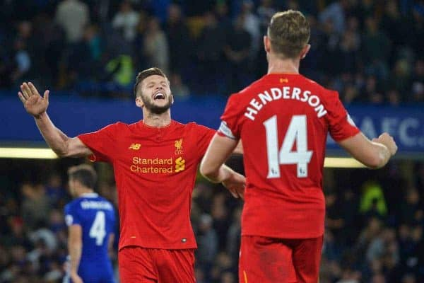 LONDON, ENGLAND - Friday, September 16, 2016: Liverpool's Adam Lallana celebrates after beating Chelsea 2-1 with captain Jordan Henderson after the Premier League match at Stamford Bridge. (Pic by Xiaoxuan Lin/Propaganda)
