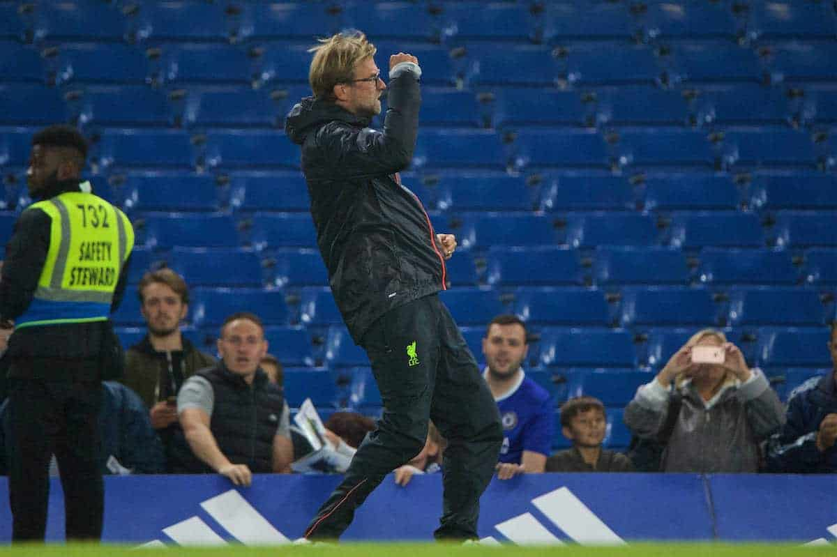 LONDON, ENGLAND - Friday, September 16, 2016: Liverpool's manager Jürgen Klopp celebrates the 2-1 victory over Chelsea during the FA Premier League match at Stamford Bridge. (Pic by Xiaoxuan Lin/Propaganda)