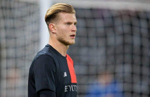 DERBY, ENGLAND - Tuesday, September 20, 2016: Liverpool's goalkeeper Loris Karius warms-up before the Football League Cup 3rd Round match against Derby County at Pride Park. (Pic by David Rawcliffe/Propaganda)