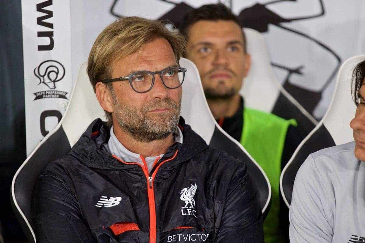 DERBY, ENGLAND - Tuesday, September 20, 2016: Liverpool's manager J¸rgen Klopp before the Football League Cup 3rd Round match against Derby County at Pride Park. (Pic by David Rawcliffe/Propaganda)