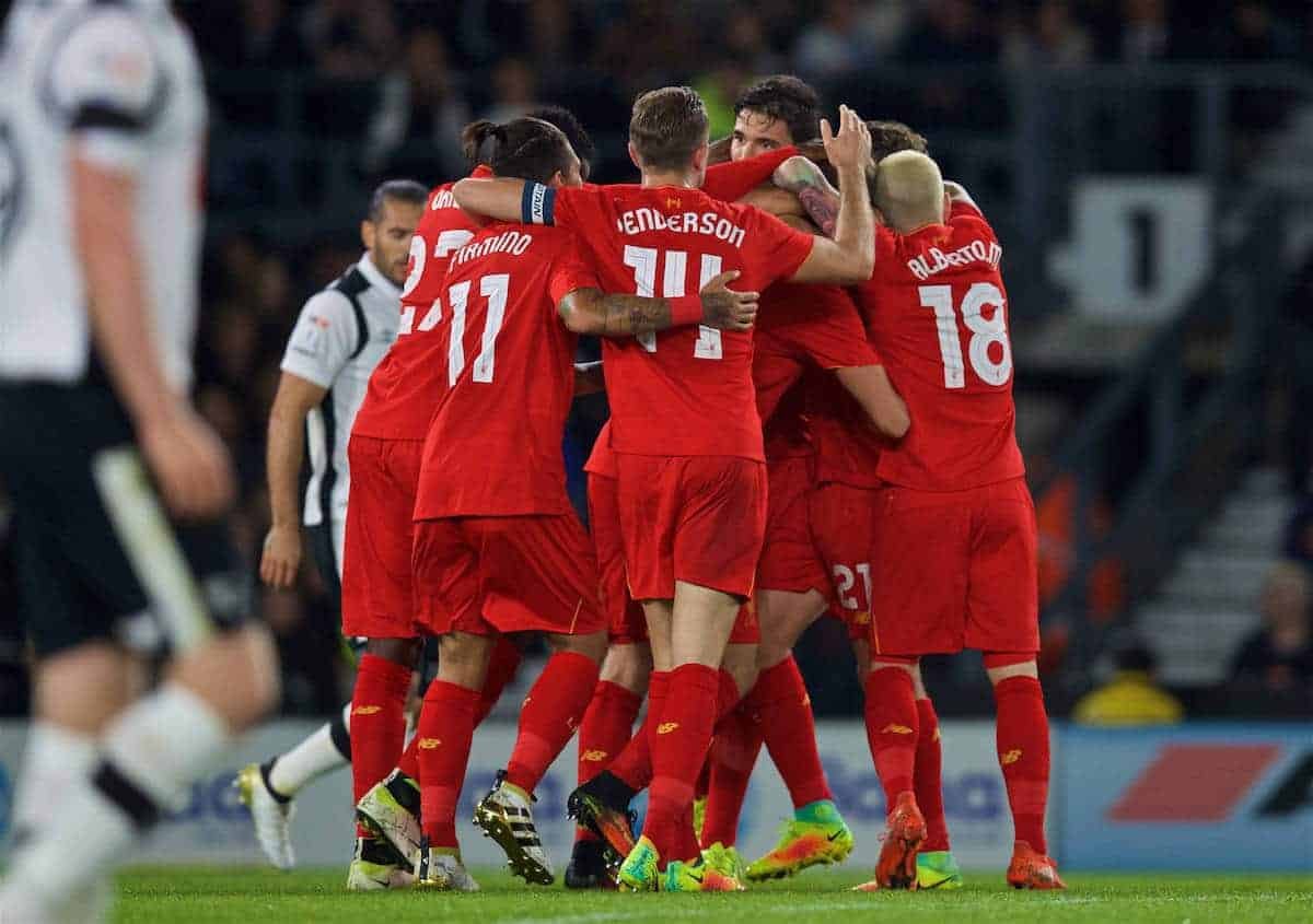 DERBY, ENGLAND - Tuesday, September 20, 2016: Liverpool's Ragnar Klavan celebrates scoring the first goal against Derby County during the Football League Cup 3rd Round match at Pride Park. (Pic by David Rawcliffe/Propaganda)