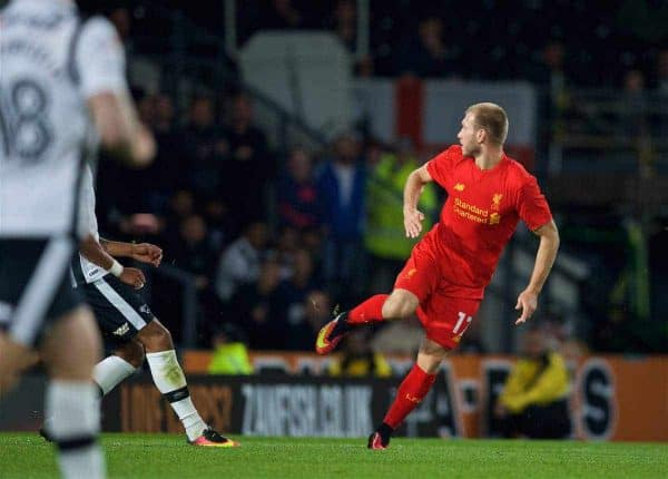 DERBY, ENGLAND - Tuesday, September 20, 2016: Liverpool's Ragnar Klavan scores the first goal against Derby County during the Football League Cup 3rd Round match at Pride Park. (Pic by David Rawcliffe/Propaganda)