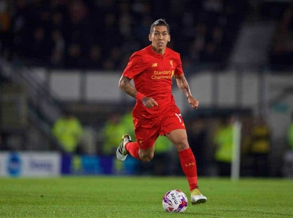 DERBY, ENGLAND - Tuesday, September 20, 2016: Liverpool's Roberto Firmino in action against Derby County during the Football League Cup 3rd Round match at Pride Park. (Pic by David Rawcliffe/Propaganda)