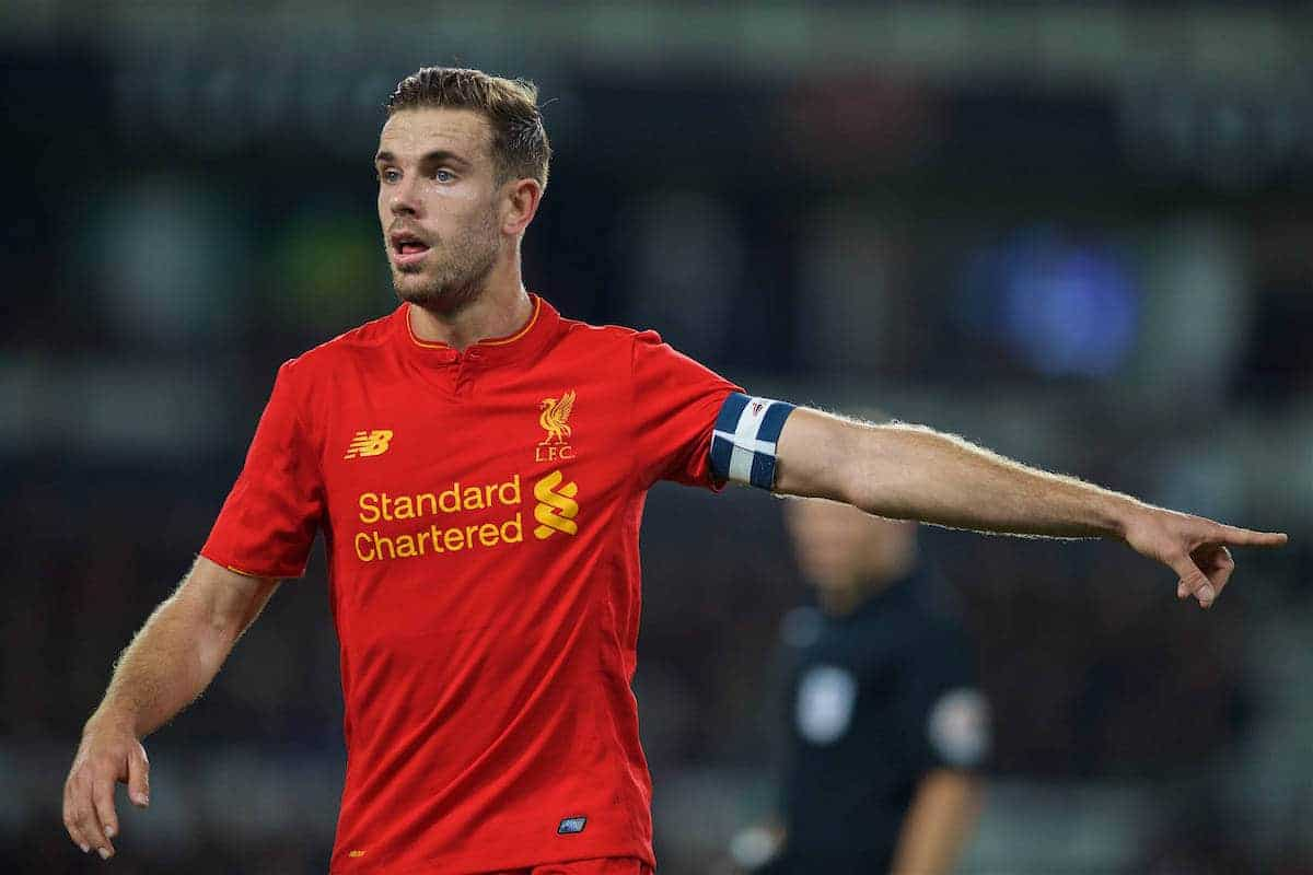 DERBY, ENGLAND - Tuesday, September 20, 2016: Liverpool's captain Jordan Henderson in action against Derby County during the Football League Cup 3rd Round match at Pride Park. (Pic by David Rawcliffe/Propaganda)