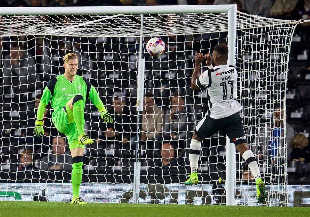 DERBY, ENGLAND - Tuesday, September 20, 2016: Liverpool's goalkeeper Loris Karius chips the ball over Derby County's Darren Bent during the Football League Cup 3rd Round match at Pride Park. (Pic by David Rawcliffe/Propaganda)