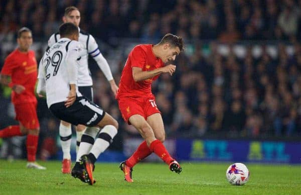 DERBY, ENGLAND - Tuesday, September 20, 2016: Liverpool's Philippe Coutinho Correia scores the second goal against Derby County during the Football League Cup 3rd Round match at Pride Park. (Pic by David Rawcliffe/Propaganda)